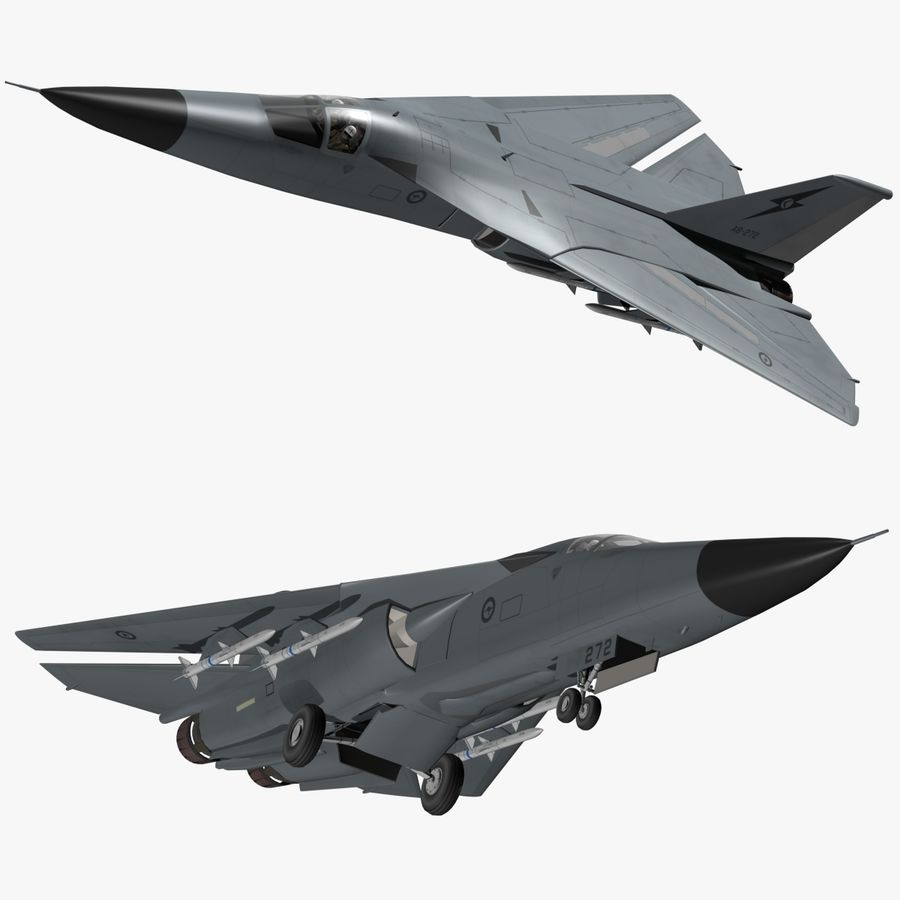 F111 Aardvark royalty-free 3d model - Preview no. 1
