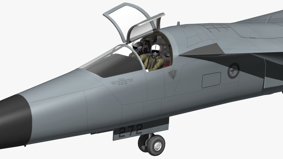 F111 Aardvark royalty-free 3d model - Preview no. 21