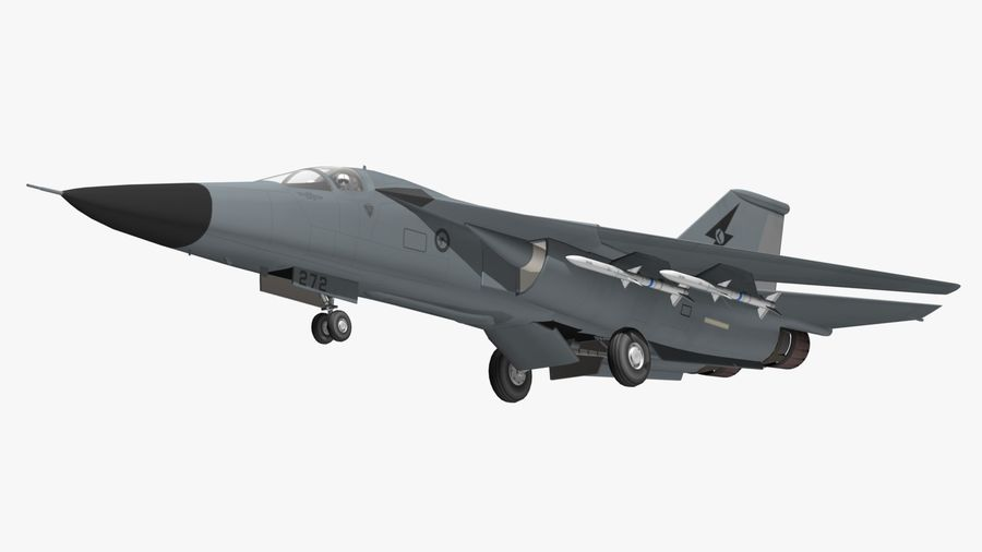 F111 Aardvark royalty-free 3d model - Preview no. 6