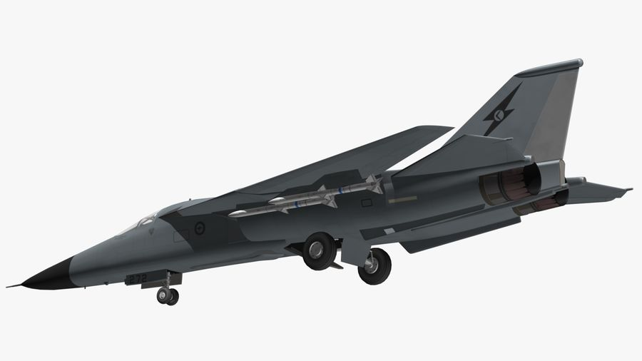 F111 Aardvark royalty-free 3d model - Preview no. 9