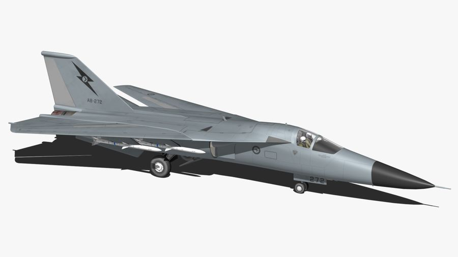 F111 Aardvark royalty-free 3d model - Preview no. 3