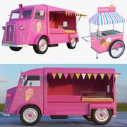 アイスクリームトラックとカート 3d model
