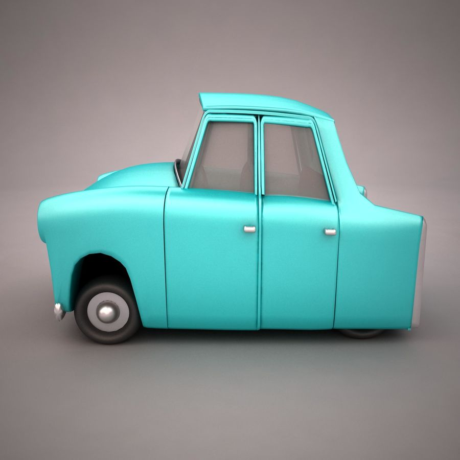 Antique Cartoon Car(1) royalty-free 3d model - Preview no. 3