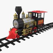 Toy Train Locomotive with Rails 3D Model 3d model