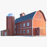Farm Barn With Silo 3d model