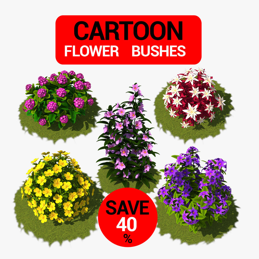 Pacote de arbusto de flores royalty-free 3d model - Preview no. 1