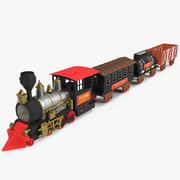 Trem de brinquedo com vagões modelo 3D 3d model
