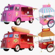 Food Trucks And Carts Collection 3d model