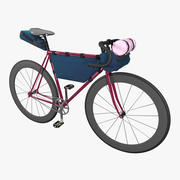 Touring bicycle with bicycle bags 3d model