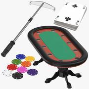 Poker Table Chips Karten und Chip Rake 3d model