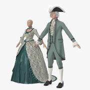 ビンテージ服の男性と女性 3d model