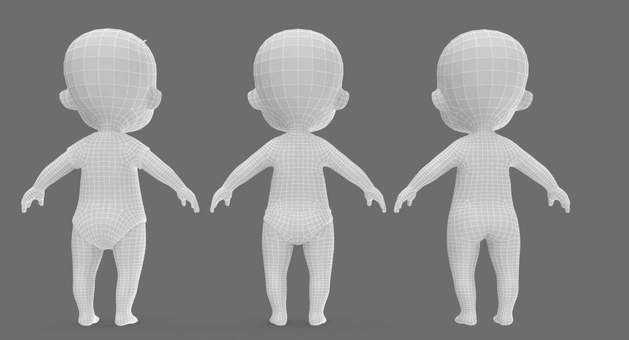 Cartoon Baby royalty-free 3d model - Preview no. 28