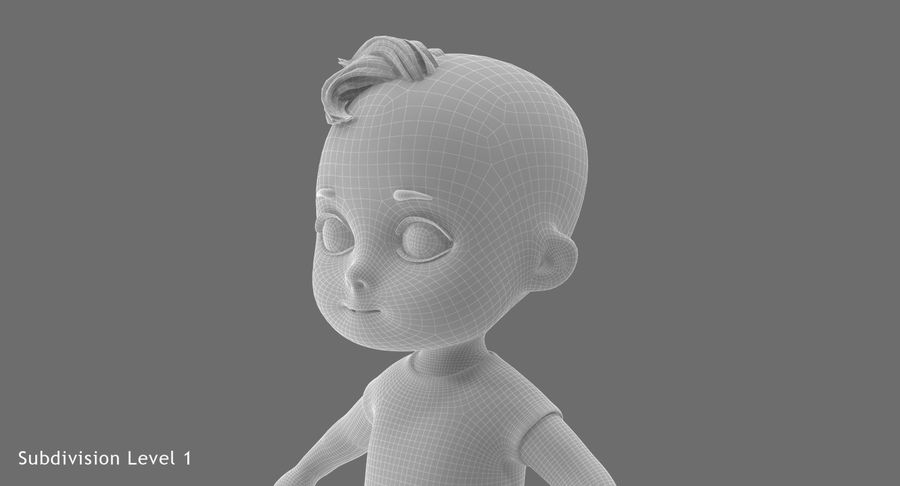 Cartoon Baby royalty-free 3d model - Preview no. 25