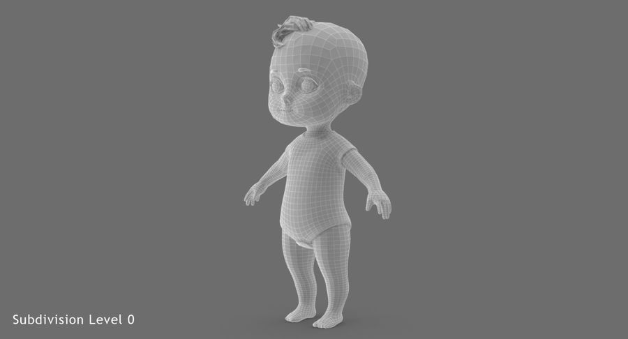 Cartoon Baby royalty-free 3d model - Preview no. 21