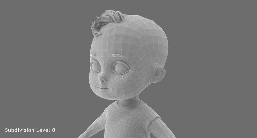 Cartoon Baby royalty-free 3d model - Preview no. 24