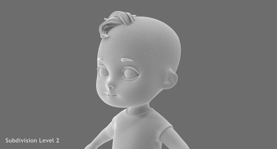 Cartoon Baby royalty-free 3d model - Preview no. 26