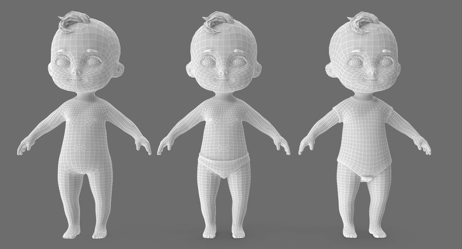 Cartoon Baby royalty-free 3d model - Preview no. 27