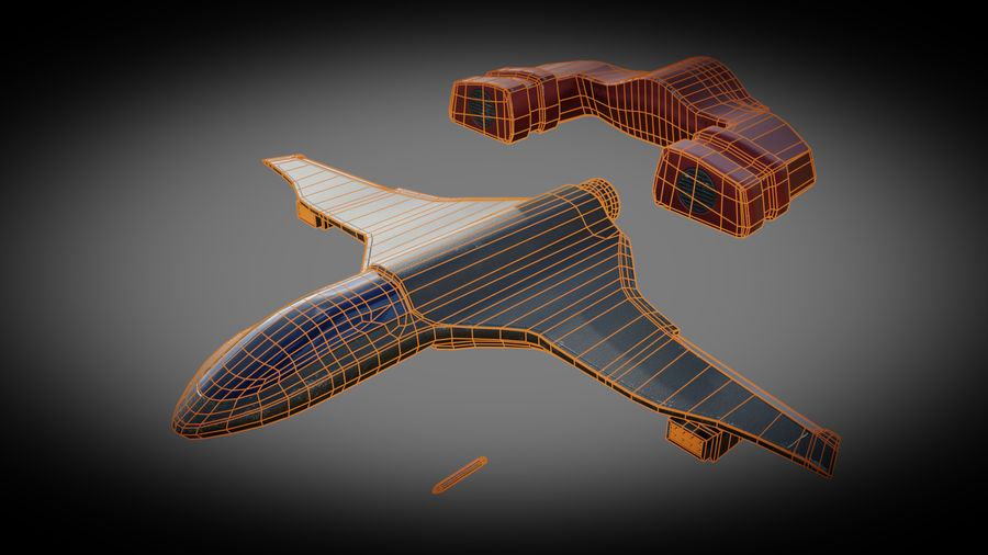 SciFi Spaceship Fighter royalty-free 3d model - Preview no. 6