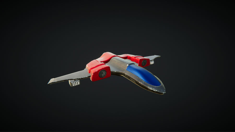 SciFi Spaceship Fighter royalty-free 3d model - Preview no. 2