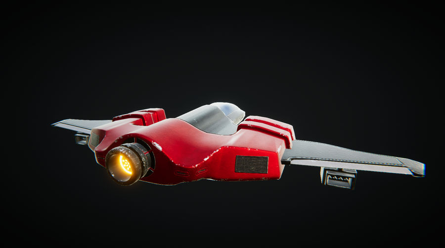 SciFi Spaceship Fighter royalty-free 3d model - Preview no. 1