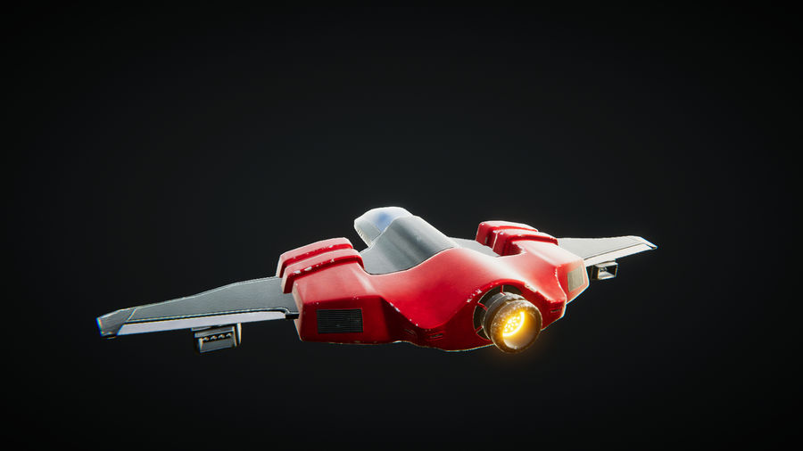 SciFi Spaceship Fighter royalty-free 3d model - Preview no. 4