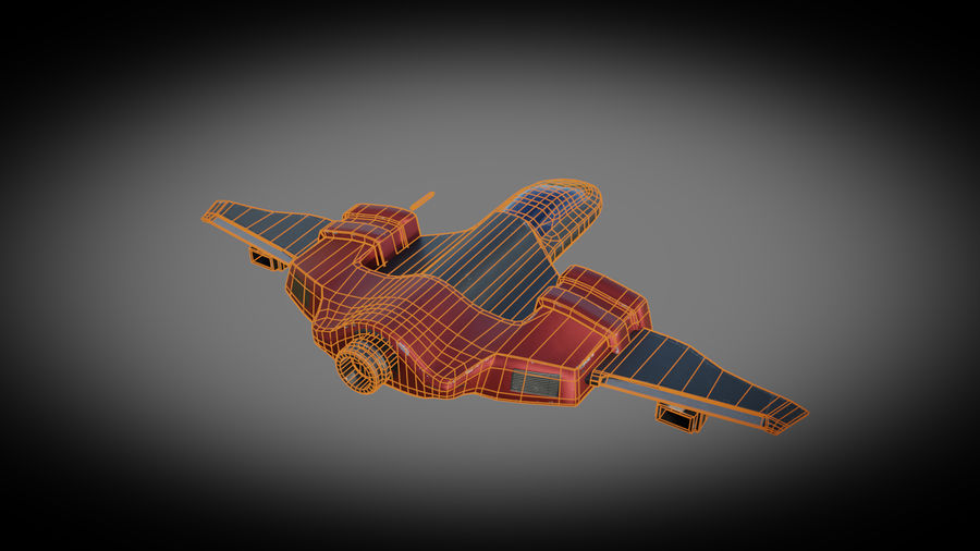 SciFi Spaceship Fighter royalty-free 3d model - Preview no. 7