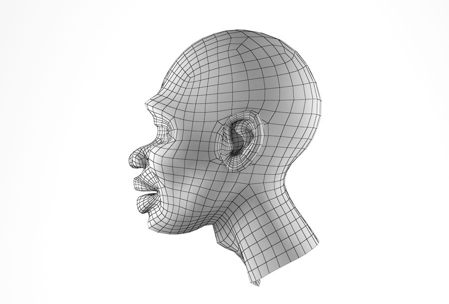 Cabeça de homem Africano Basemesh royalty-free 3d model - Preview no. 27