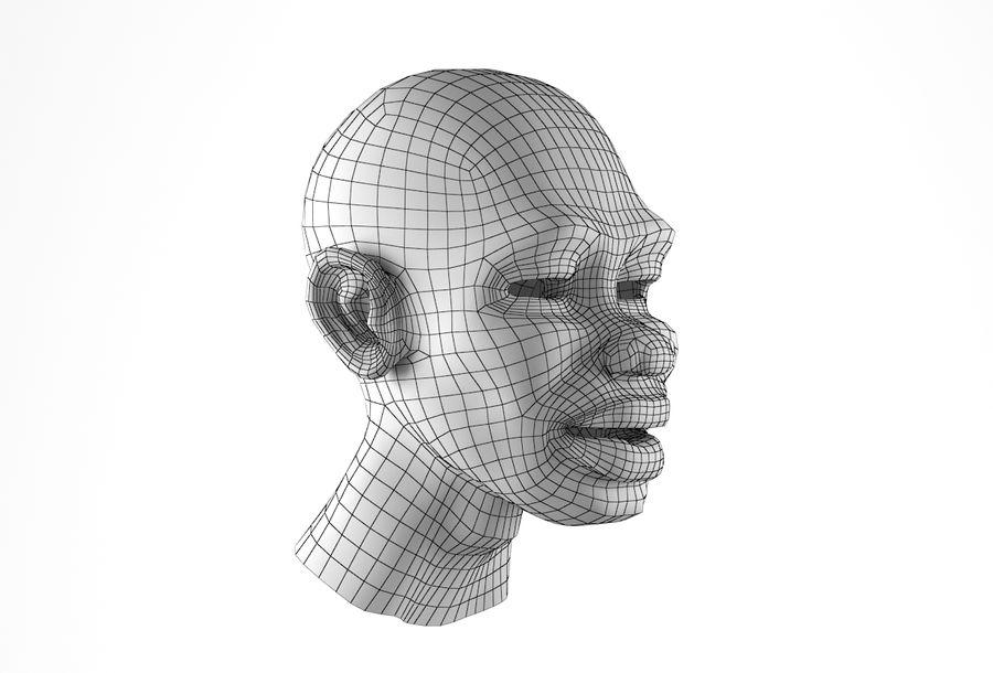 Cabeça de homem Africano Basemesh royalty-free 3d model - Preview no. 18