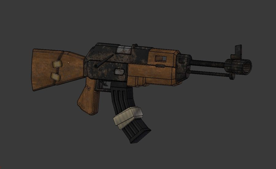 Modelo Ak-47 Low Poly royalty-free modelo 3d - Preview no. 4