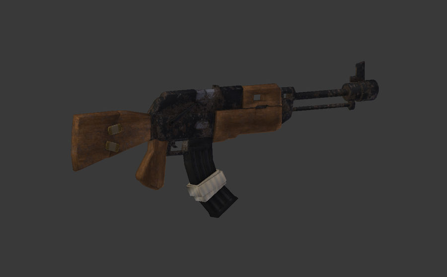 Modelo Ak-47 Low Poly royalty-free modelo 3d - Preview no. 2
