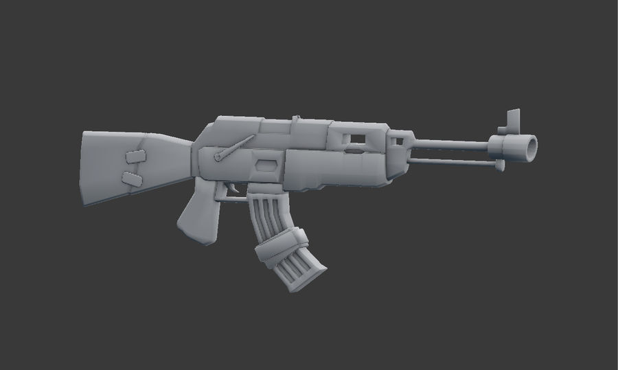 Ak-47 Low Poly Model royalty-free 3d model - Preview no. 3