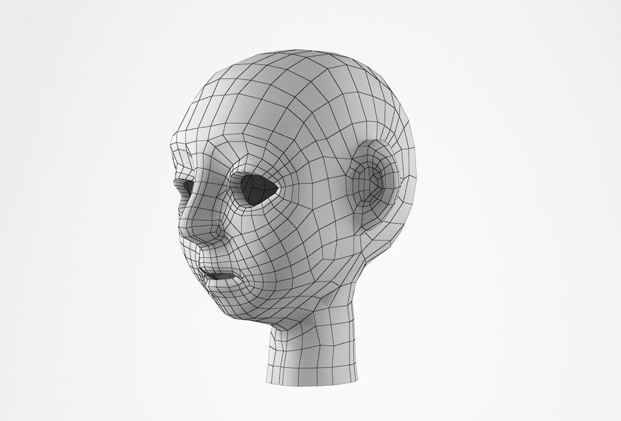 Cabeça dos desenhos animados de Basemesh royalty-free 3d model - Preview no. 30