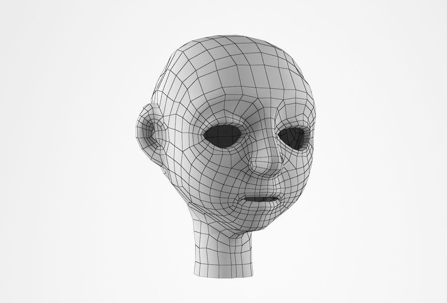 Cabeça dos desenhos animados de Basemesh royalty-free 3d model - Preview no. 18