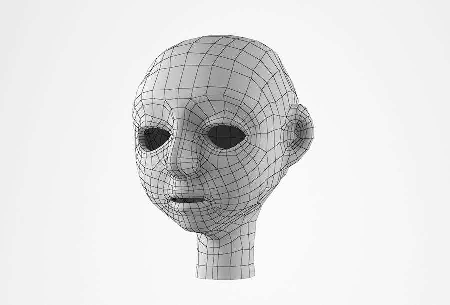 Cabeça dos desenhos animados de Basemesh royalty-free 3d model - Preview no. 31