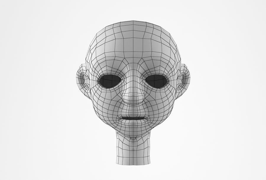 Cabeça dos desenhos animados de Basemesh royalty-free 3d model - Preview no. 17