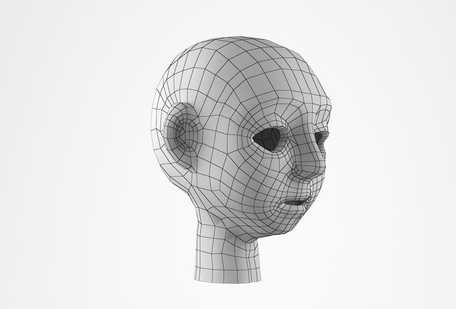 Cabeça dos desenhos animados de Basemesh royalty-free 3d model - Preview no. 19