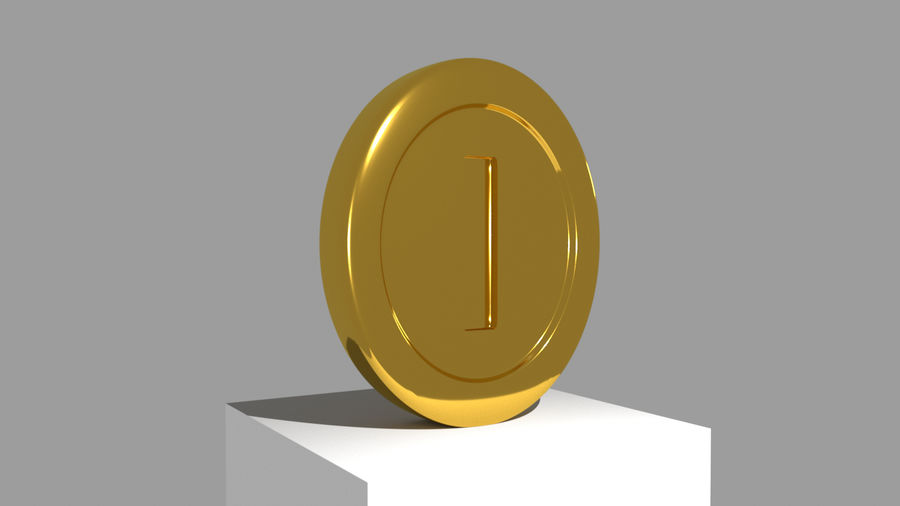 MARIO COIN royalty-free 3d model - Preview no. 3