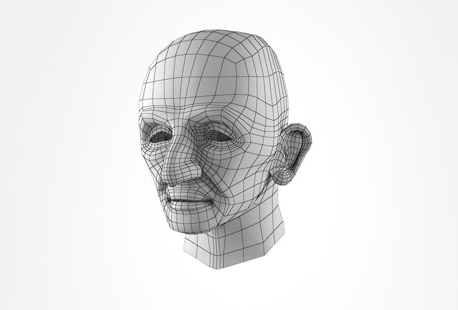 Cabeça de homem velho Basemesh royalty-free 3d model - Preview no. 30