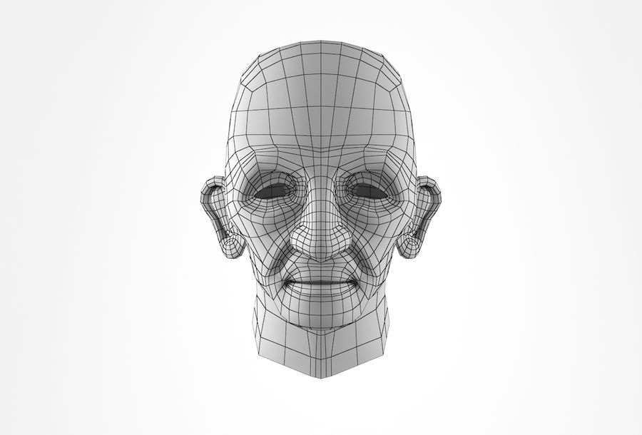 Cabeça de homem velho Basemesh royalty-free 3d model - Preview no. 16