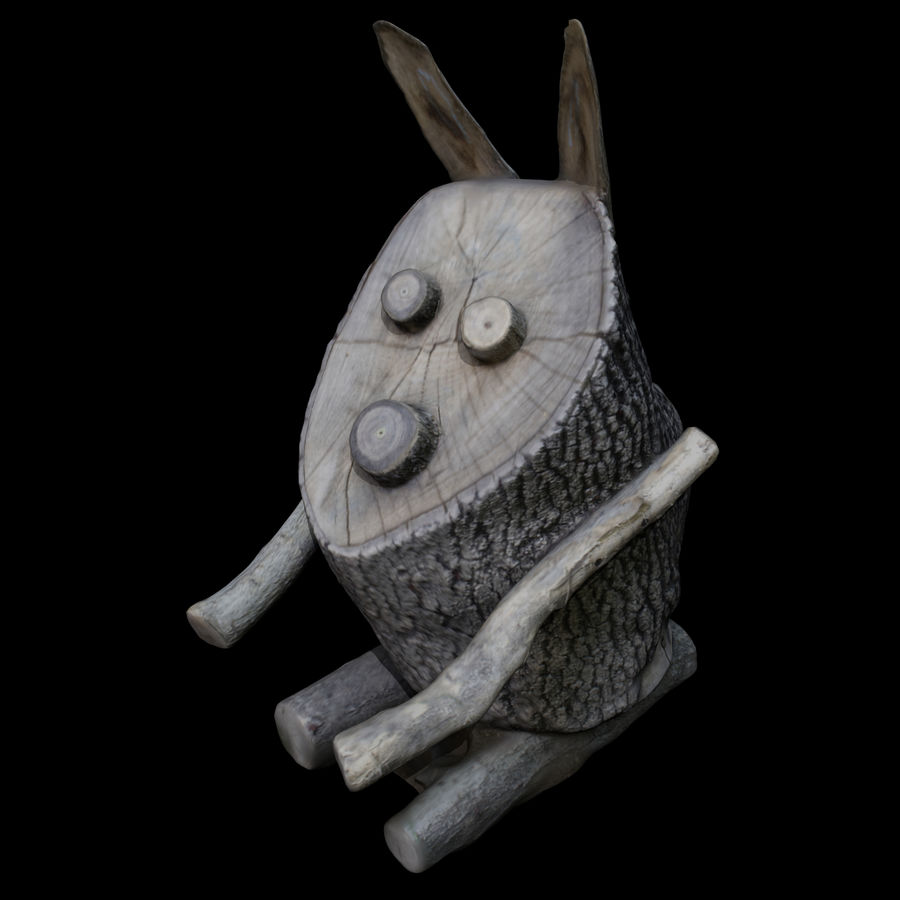 Wooden Rabbit royalty-free 3d model - Preview no. 2