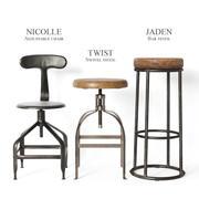 Endüstriyel tabureler ve sandalyeler part2 3d model