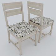 Semplice sedia in legno con cuscino 3d model