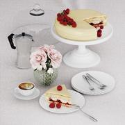 Raspberry cake desert 3d model
