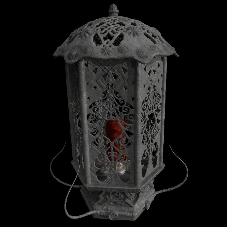 Laterne mit Kerze royalty-free 3d model - Preview no. 2