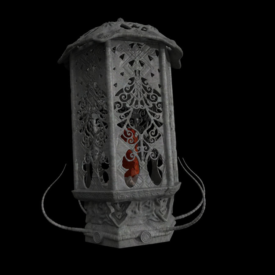Laterne mit Kerze royalty-free 3d model - Preview no. 4