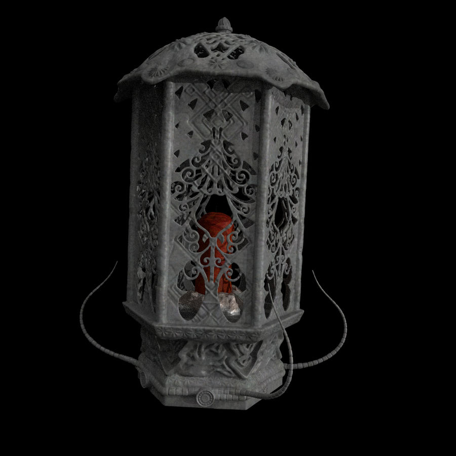 Lykta med ljus royalty-free 3d model - Preview no. 5