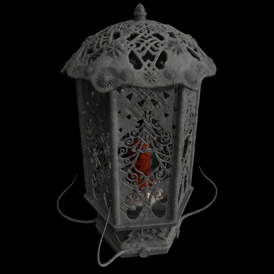 Lykta med ljus royalty-free 3d model - Preview no. 1