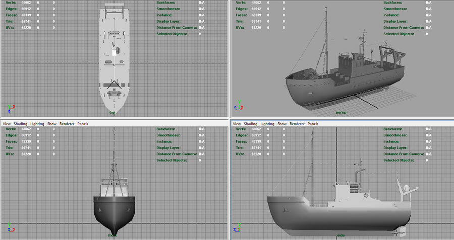 Fish Boat royalty-free 3d model - Preview no. 6