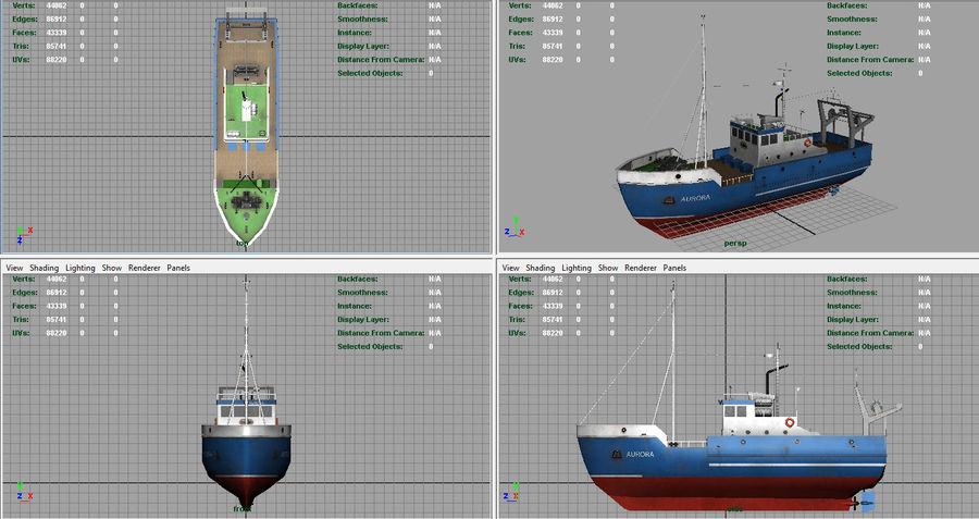 Fish Boat royalty-free 3d model - Preview no. 5