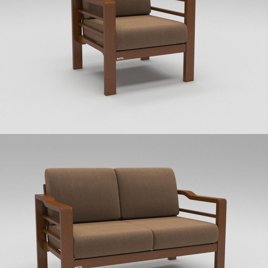 Simply comfortable sofa royalty-free 3d model - Preview no. 1